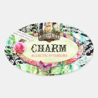 GC | Shabby Vintage Charm - Black Damask Oval Sticker
