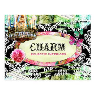 GC Shabby Vintage Charm Black Damask Post Cards