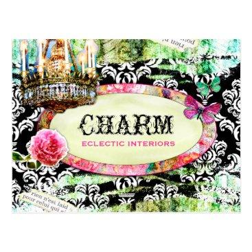 GC Shabby Vintage Charm Black Damask Postcard