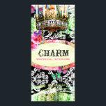 "GC Shabby Vintage Charm Black Damask Rack Card<br><div class=""desc"">Design by Jill McAmis &#169; 2012.</div>"