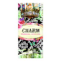 GC Shabby Vintage Charm Black Damask Rack Card
