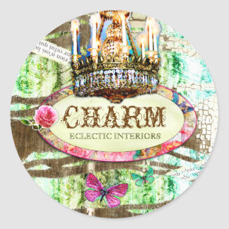 GC | Shabby Vintage Charm - Chipped Paint Classic Round Sticker