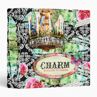GC | Shabby Vintage Charm - LARGE Black Damask 3 Ring Binder