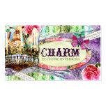 GC | Shabby Vintage Charm - Purple Damask Business Cards