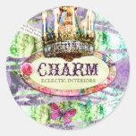 GC | Shabby Vintage Charm - Purple Damask Classic Round Sticker