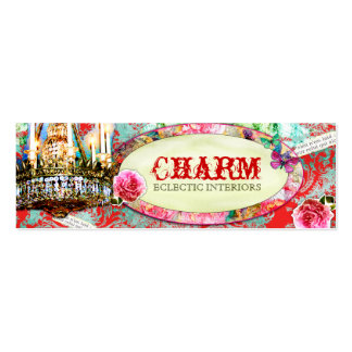 GC Shabby Vintage Charm - Red Turquiose Damask Double-Sided Mini Business Cards (Pack Of 20)