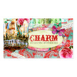 GC | Shabby Vintage Charm - Red Turquiose Damask Business Card Template