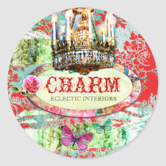 GC | Shabby Vintage Charm - Red Turquiose Damask Classic Round Sticker