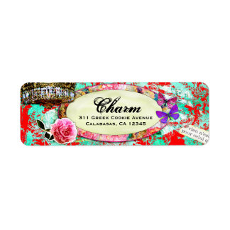 GC Shabby Vintage Charm Turquoise Red Damask Label