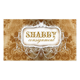 GC Shabby Vintage Gold Damask Business Card Template