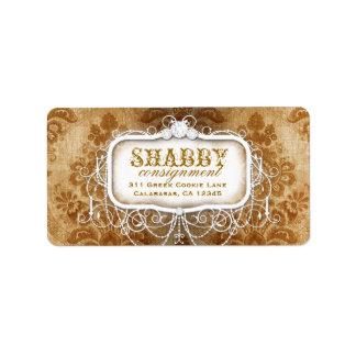 GC Shabby Vintage Gold Damask Label