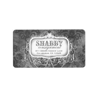 GC Shabby Vintage Gray Damask Label