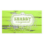 GC Shabby Vintage Green Wood Business Card