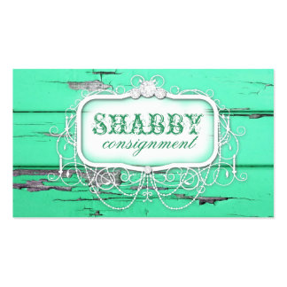 GC Shabby Vintage Green Wood Double-Sided Standard Business Cards (Pack Of 100)