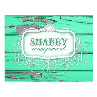 GC Shabby Vintage Green Wood Sticker Postcard