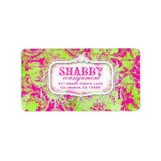 GC Shabby Vintage Pink and Lime Damask Label