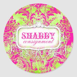 GC Shabby Vintage Pink and Lime Damask Sticker