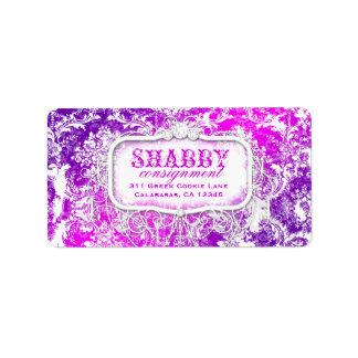 GC Shabby Vintage Pink & Purple Damask Label