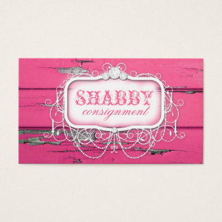GC Shabby Vintage Pink Wood Business Card