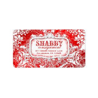 GC Shabby Vintage Red & White Damask Label