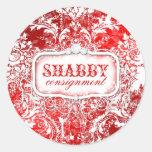 GC Shabby Vintage Red & White Sticker