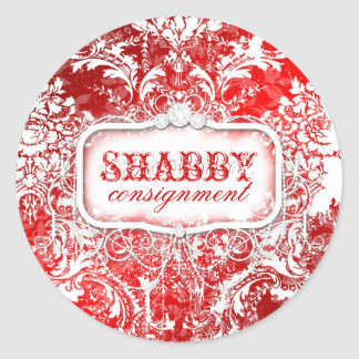 GC Shabby Vintage Red & White Sticker
