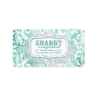 GC Shabby Vintage Turquoise Damask Label