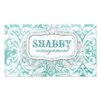 GC Shabby Vintage Turquoise Wood Double-Sided Standard Business Cards (Pack Of 100)