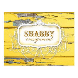 GC Shabby Vintage Yellow Wood Sticker Post Card
