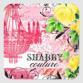 GC Shabby Yellow Rose Garden Chandelier Square Sticker