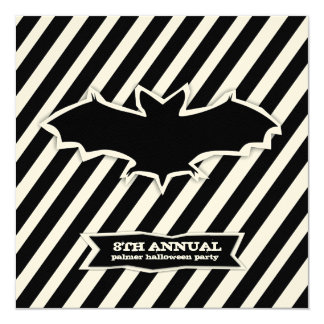 GC Striped Bat Spook Halloween Cut Out 5.25x5.25 Square Paper Invitation Card