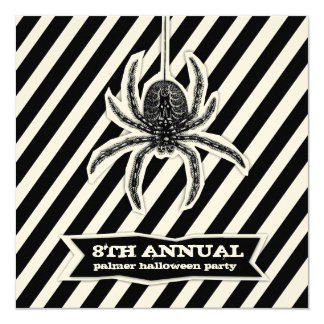 GC Striped Spider Spook Halloween Cut Out 5.25x5.25 Square Paper Invitation Card