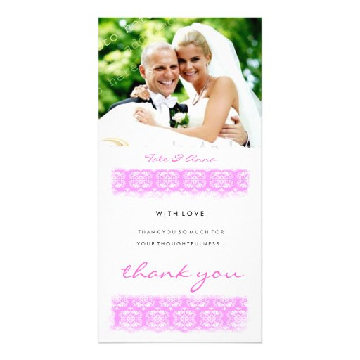 GC   Sweet Pink Print Thank You Picture Card