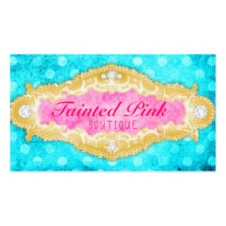 GC Tainted Aqua Pink & Gold Polka Dots Business Card Template