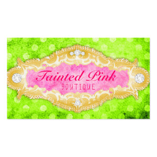 GC Tainted Lime Pink & Gold Polka Dots Business Card Template
