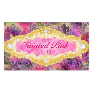 GC Tainted Lime Vibrant Damask Business Card