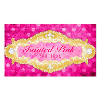 GC Tainted Pink & Gold Polka Dots Business Cards