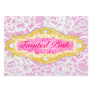GC Tainted Pink Lace Large Business Card