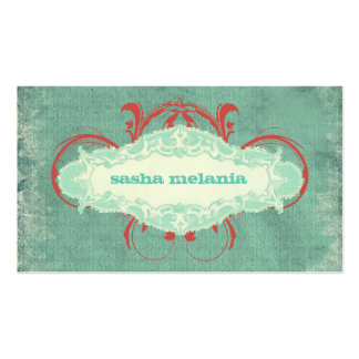 """GC   Tantalizing Turquoise Red """"Aged"""" Business Card"""