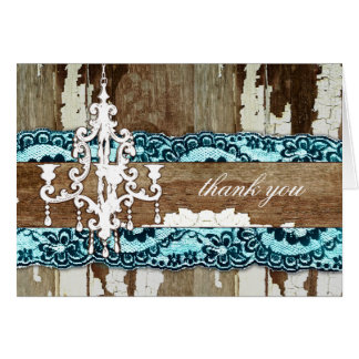GC | Trash to Treasure Aqua Blue Thank You Stationery Note Card