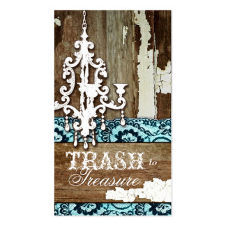 GC | Trash to Treasure Chandelier Aqua Blue Business Card Template