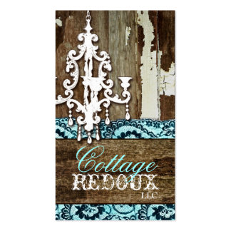 GC Trash to Treasure Chandelier Aqua Blue Business Card Template