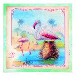 GC | Vibrant Vintage Flamingos 5.25x5.25 Square Paper Invitation Card