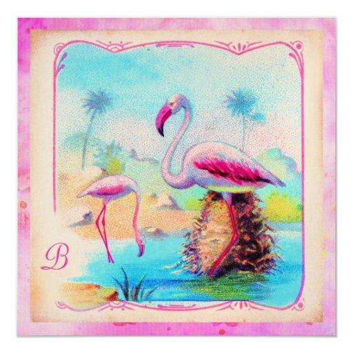 GC Vibrant Vintage Flamingos Pink Gold Metallic 5.25x5.25 Square Paper Invitation Card