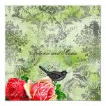 GC | Vintage Bird & Rose | Lime Damask Card