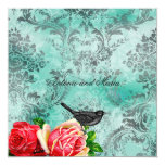 "GC | Vintage Bird & Rose | Turquoise Damask 5.25"" Square Invitation Card"