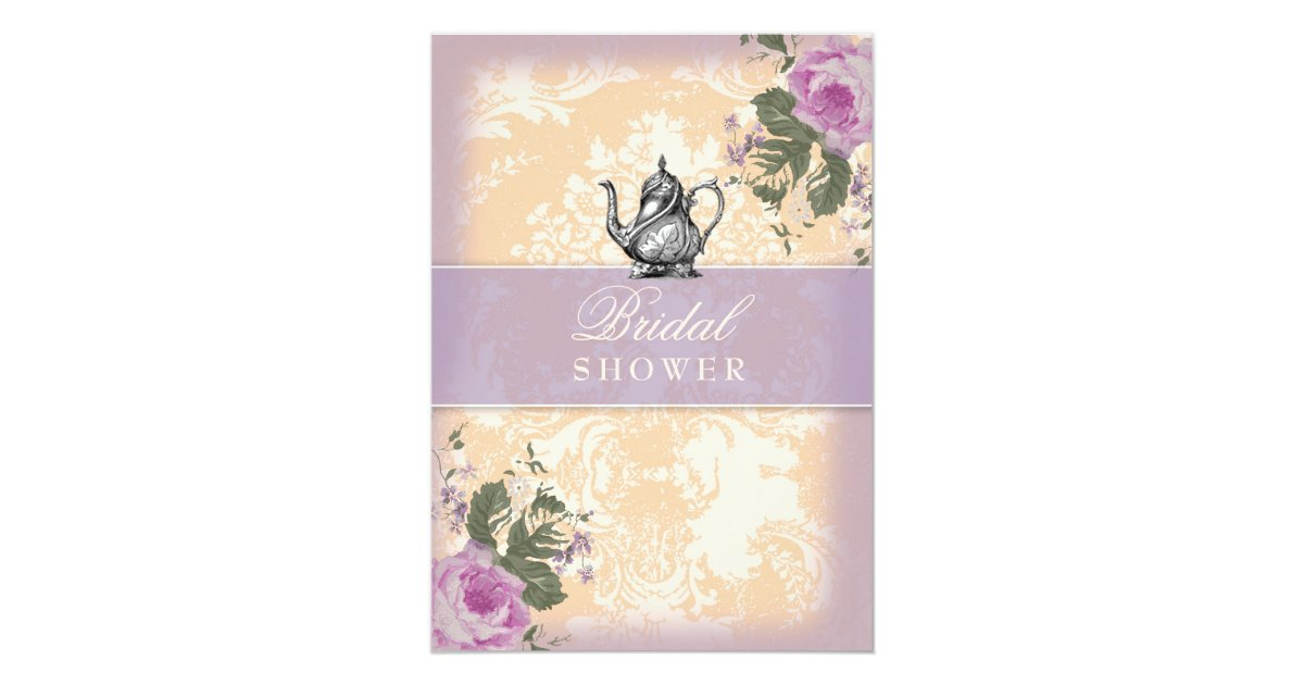Vintage Tea Party Wedding Invitations: GC Vintage Bridal Shower Tea Party Invitation