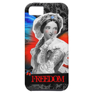 """GC Vintage Butterfly Beauty """"FREEDOM"""" red blue iPhone SE/5/5s Case"""