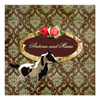 GC Vintage Damask with Horse Brown Custom Invites