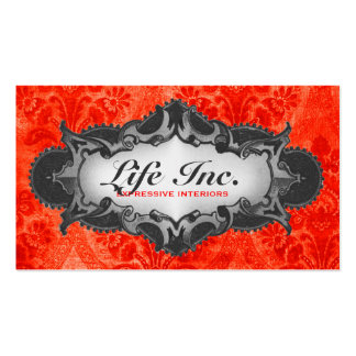 GC Vintage Decor Red & Gray Damask Double-Sided Standard Business Cards (Pack Of 100)